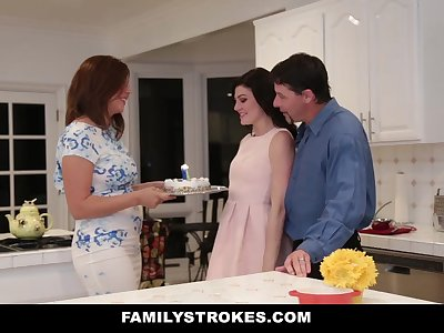 FamilyStrokes - Fucking My Stepdad While Mom Cooks