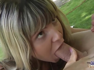 Teenie schoolgirl swallowing cum outdoor doggy fucking old cock