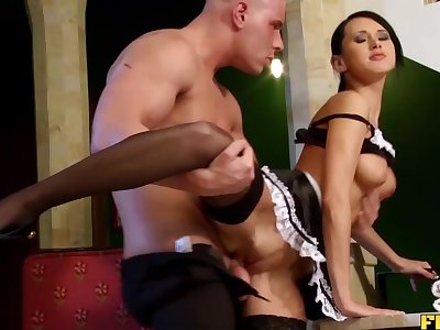 Skinny French Maid Taking It All Up The Ass