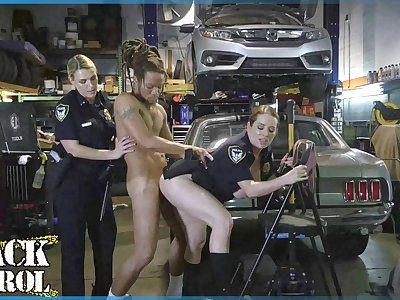 BLACK PATROL - Busty White Cops Shut Down A Chop Shop And Ride BBC