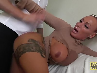 Lascivious subslut Brooke Jameson predominated and fed cum