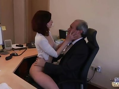I am a youthfull secretary seducing my boss at the office asking for sex