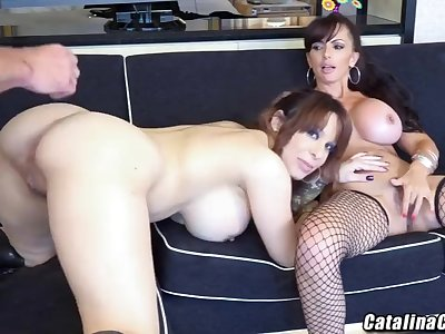 Busty 3some with Catalina Cruz and Alyssa Lynn live web cam
