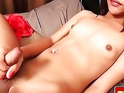 Naughty thai transgender princess plumbs her ass